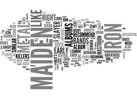 A LOOK AT IRON MAIDEN TEXT WORD CLOUD CONCEPT