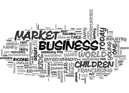 A LOOK AT THE BUSINESS OF KIDS TEXT WORD CLOUD CONCEPT