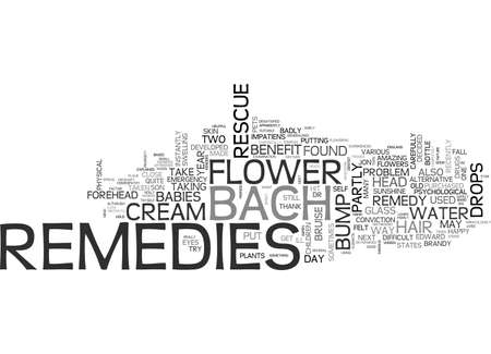 BACH FLOWER REMEDIES TO THE RESCUE TEXT WORD CLOUD CONCEPT
