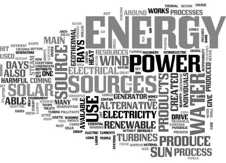 ALTERNATIVE ENERGY SOURCE PROS AND CONS TEXT WORD CLOUD CONCEPT Иллюстрация