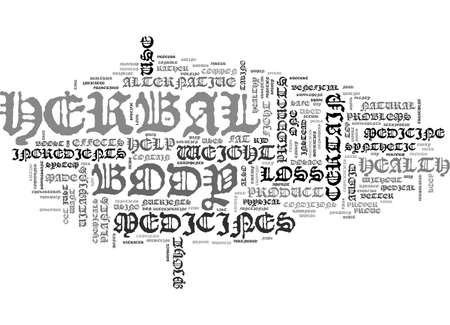 ALTERNATIVE HERBAL MEDICINE AND WEIGHT LOSS TEXT WORD CLOUD CONCEPT Иллюстрация