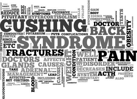 BACK PAIN AND HYPERCORTISOLISM TEXT WORD CLOUD CONCEPT