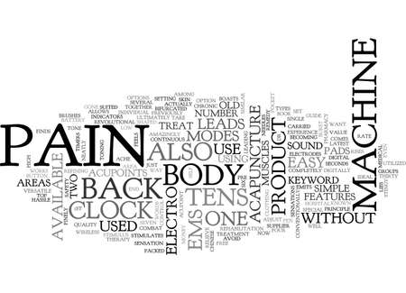 BACK PAIN MACHINE TEXT WORD CLOUD CONCEPT