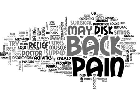 BACK PAIN RELIEF TEXT WORD CLOUD CONCEPT Illustration