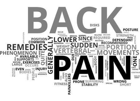 BACK PAIN REMEDIES TEXT WORD CLOUD CONCEPT