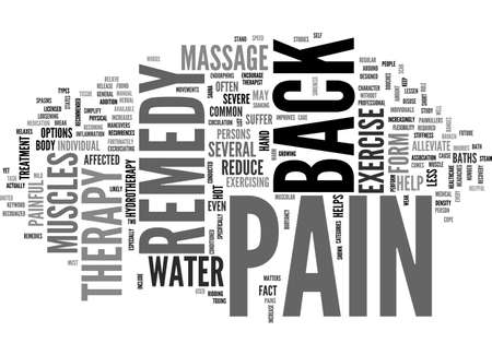 BACK PAIN REMEDY TEXT WORD CLOUD CONCEPT Illustration