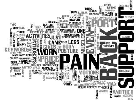 BACK PAIN SUPPORT TEXT WORD CLOUD CONCEPT Иллюстрация