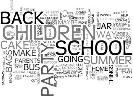 BACK TO SCHOOL PARTY TEXT WORD CLOUD CONCEPT Ilustração