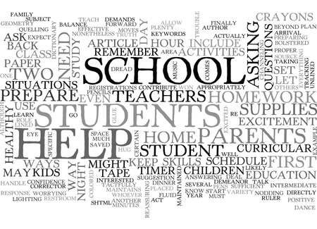 BACK TO SCHOOL WAYS TO HELP YOUR STUDENT TEXT WORD CLOUD CONCEPT