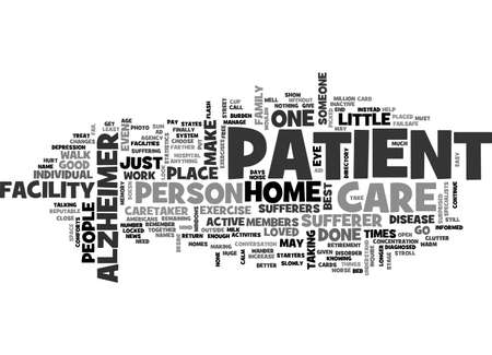 ALZHEIMERS CARE FACILITY TEXT WORD CLOUD CONCEPT Illustration