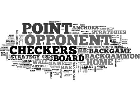 backgammon: BACKGAMMON THREE BASIC STRATEGIES TEXT WORD CLOUD CONCEPT