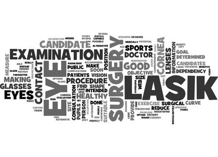 AM I A GOOD CANDIDATE FOR LASIK TEXT WORD CLOUD CONCEPT 向量圖像