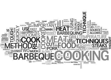 BARBEQUE TECHNIQUES TWO METHODS TO CONSIDER TEXT WORD CLOUD CONCEPT Illustration