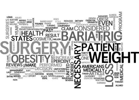 BARIATRIC SURGERY COSMETIC OR NECESSARY TEXT WORD CLOUD CONCEPT Çizim