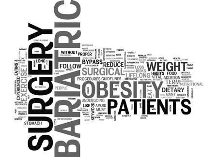 bariatric: BARIATRIC SURGERY THE QUICK FIX TO OBESITY TEXT WORD CLOUD CONCEPT