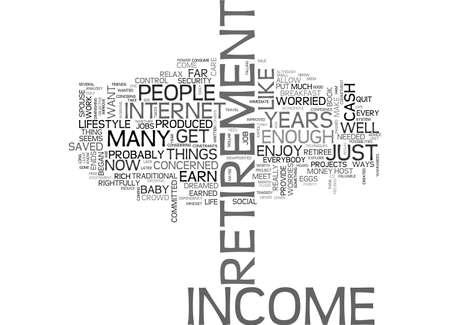 A FRESH MINDSET ON RETIREMENT INCOME TEXT WORD CLOUD CONCEPT Ilustração