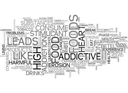 ADDICTIVE FOODS AND THEIR HARMFUL CONSEQUENCES TEXT WORD CLOUD CONCEPT