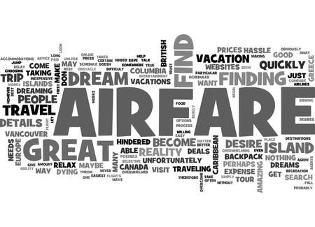 AIRFARE DOESN T HAVE TO HINDER YOUR DREAM TRIP TEXT WORD CLOUD CONCEPT