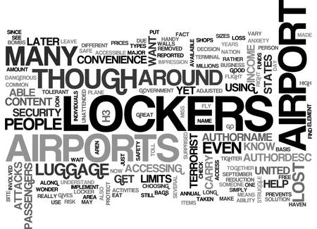 AIRPORT LOCKERS TEXT WORD CLOUD CONCEPT