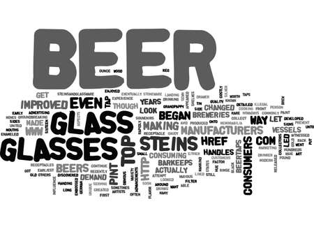 A LOOK BACK AT BEER VESSELS TEXT WORD CLOUD CONCEPT Illustration