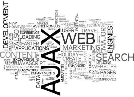 AJAX SEO が彼ら互換のテキストの単語の雲概念です。