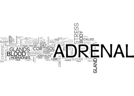 ADRENAL FATIGUE AND HOW TO BEAT IT TEXT WORD CLOUD CONCEPT Illustration