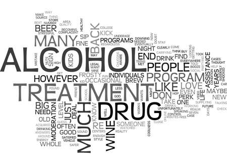 ALCOHOL AND DRUG TREATMENT TEXT WORD CLOUD CONCEPT Illustration