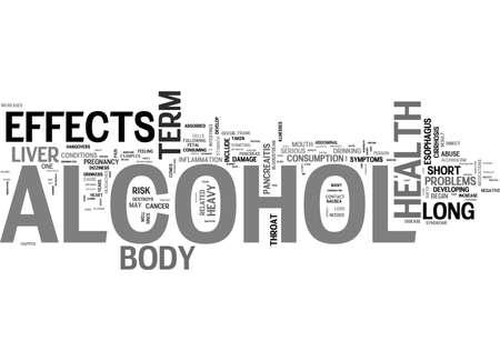ALCOHOL Y EFECTOS SALUDABLES DEL ALCOHOL EN EL CUERPO PALABRA DE TEXTO PALABRA CONCEPTO Ilustración de vector