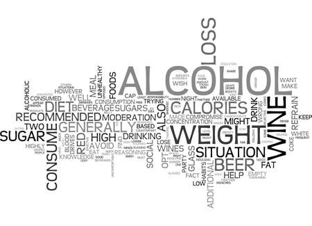 ALCOHOL AND WEIGHT LOSS TEXT WORD CLOUD CONCEPT