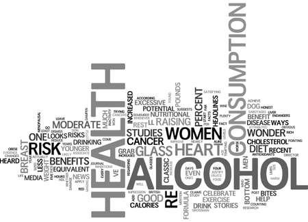 ALCOHOL HEALTH BENEFIT OR HEALTH RISK TEXT WORD CLOUD CONCEPT Ilustração