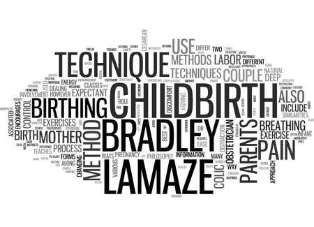 A PRIMER ON BRADLEY VS LAMAZE CHILDBIRTH METHODS TEXT WORD CLOUD CONCEPT