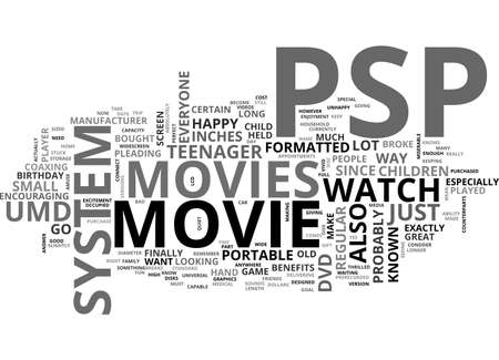 psp: A PSP MOVIE IS FUN FOR EVERYONE TEXT WORD CLOUD CONCEPT Illustration