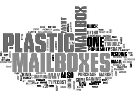 A QUICK GUIDE TO PLASTIC MAILBOXES TEXT WORD CLOUD CONCEPT