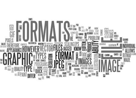A QUICK LESSON IN GRAPHIC FILE FORMATS TEXT WORD CLOUD CONCEPT