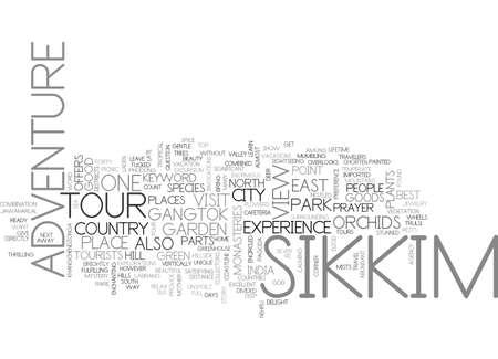 ADVENTURE TOUR TO SIKKIM TEXT WORD CLOUD CONCEPT