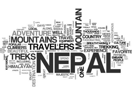 ADVENTURE TRAVEL IN NEPAL TEXT WORD CLOUD CONCEPT Ilustrace