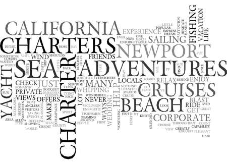 ADVENTURES AT SEA NEWPORT BEACH TEXT WORD CLOUD CONCEPT Çizim