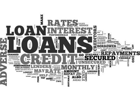 不利な信用融資テキスト WORD クラウド コンセプト  イラスト・ベクター素材