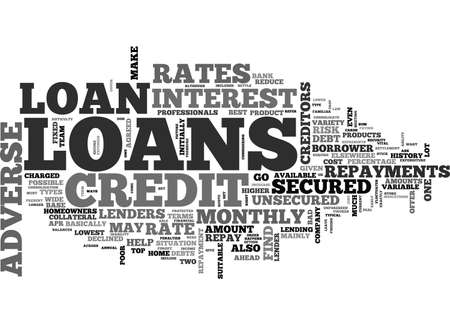 ADVERSE CREDIT LOANS TEXT WORD CLOUD CONCEPT
