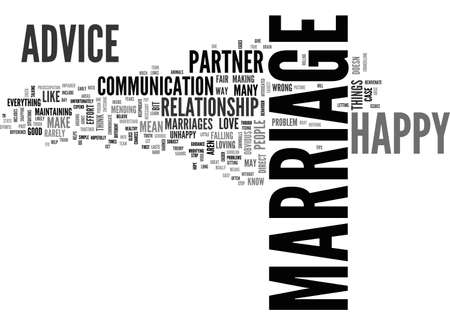 ADVICE FOR A HAPPY MARRIAGE TEXT WORD CLOUD CONCEPT Illustration
