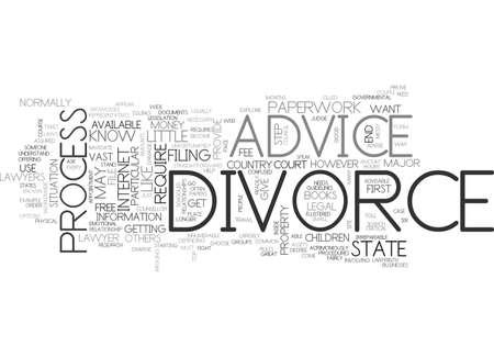 devastating: ADVICE ON DIVORCE TEXT WORD CLOUD CONCEPT Illustration