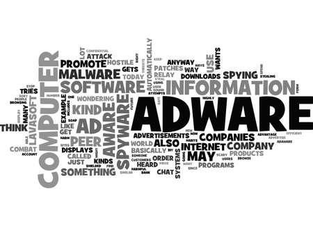 ADWARE AND AD AWARE TEXT WORD CLOUD CONCEPT Ilustração