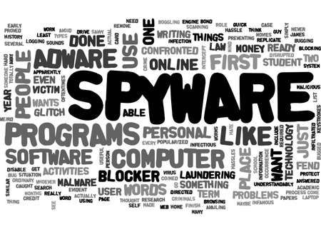 ADWARE AND SPYWARE BLOCKER TEXT WORD CLOUD CONCEPT