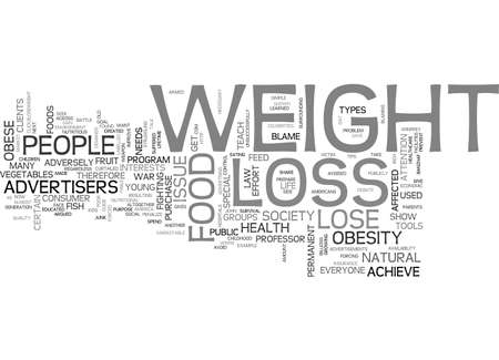 ARE ADVERTISERS TO BLAME FOR AMERICANS WEIGHT LOSS ISSUES TEXT WORD CLOUD CONCEPT