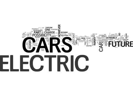 電気車未来のテキスト単語の雲概念の一部