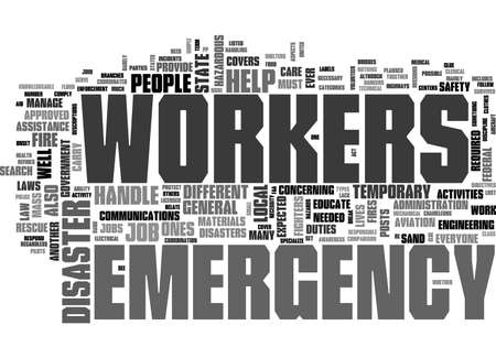 ARE EMERGENCY WORKERS ONLY FIREFIGHTERS TEXT WORD CLOUD CONCEPT 向量圖像