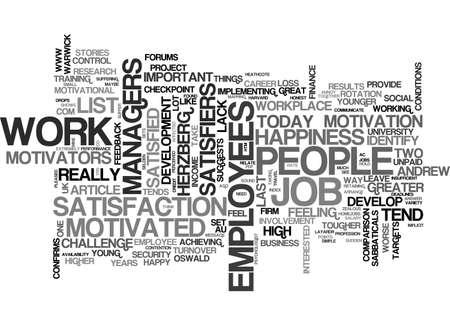 幸せな従業員モチベーションの高い社員テキスト WORD クラウドのコンセプトは、します。  イラスト・ベクター素材