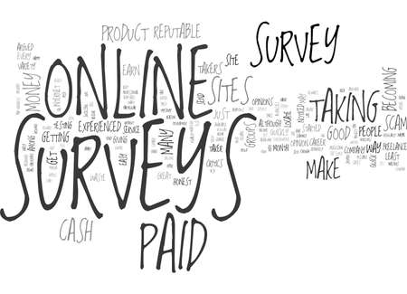 ARE ONLINE PAID SURVEYS A SCAM TEXT WORD CLOUD CONCEPT Иллюстрация