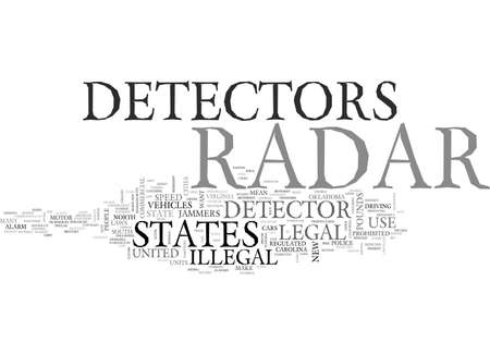 ARE RADAR DETECTORS LEGAL IN THE US AND IN WHICH STATES ARE THEY PROHIBITED TEXT WORD CLOUD CONCEPT