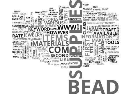 BEAD SUPPLIES TEXT WORD CLOUD CONCEPT Illustration